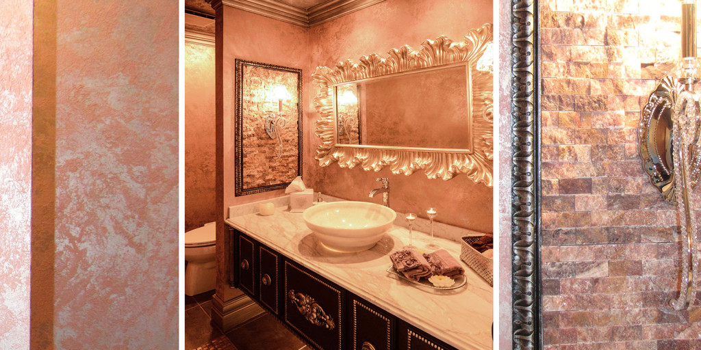 the chocolate stained custom cabinet with silver metallic accents provides a lovely contrast and echoes the sparkle from the crystal sconces the metallic